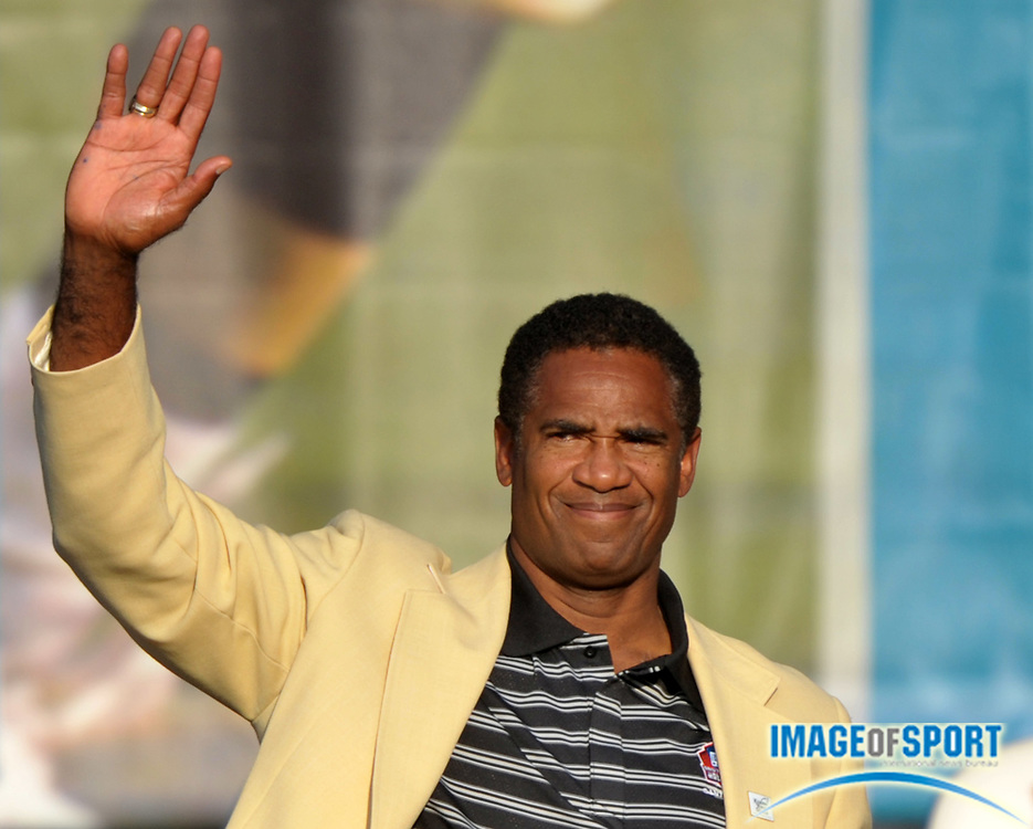 Aug 7, 2010; Canton, OH, USA; Mike Haynes at the 2010 Pro Football Hall of Fame enshrinement ceremony at Fawcett Stadium. Photo by Image of Sport
