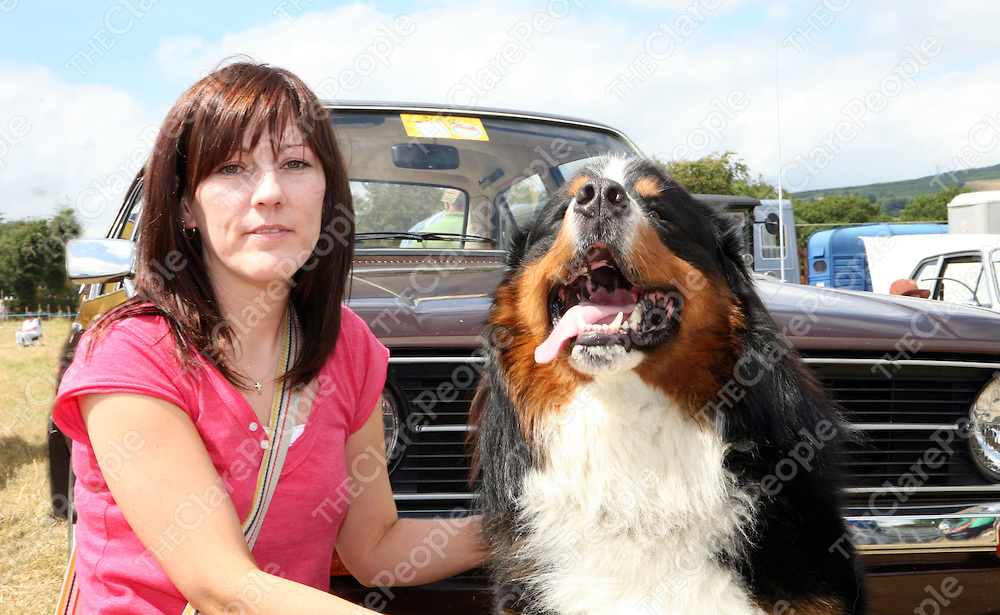 Bernie Lyons from Shannon with her Bernese Mountain Dog, Jumbo at the North East Clare Show in Bridgetown on Sunday.<br />