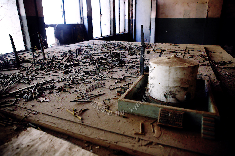 A plastic model is laying inside the abandoned Union Carbide (now DOW Chemical) industrial complex in Bhopal, Madhya Pradesh, India.