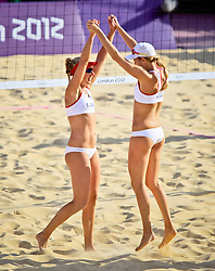 Americans Ross and Kessy celebrate their win over Switzerland.