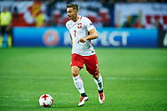 Lublin, Poland - 2017 June 16: Karol Linetty from Poland U21 controls the ball while Poland v Slovakia match during 2017 UEFA European Under-21 Championship at Lublin Arena on June 16, 2017 in Lublin, Poland.<br /> <br /> Mandatory credit:<br /> Photo by © Adam Nurkiewicz / Mediasport<br /> <br /> Adam Nurkiewicz declares that he has no rights to the image of people at the photographs of his authorship.<br /> <br /> Picture also available in RAW (NEF) or TIFF format on special request.<br /> <br /> Any editorial, commercial or promotional use requires written permission from the author of image.