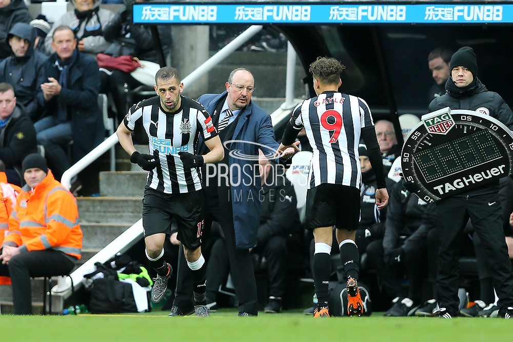 Islam Slimani (#13) of Newcastle United prepares to make his Newcastle United debut by replacing Dwight Gayle (#9) of Newcastle United during the Premier League match between Newcastle United and Huddersfield Town at St. James's Park, Newcastle, England on 31 March 2018. Picture by Craig Doyle.