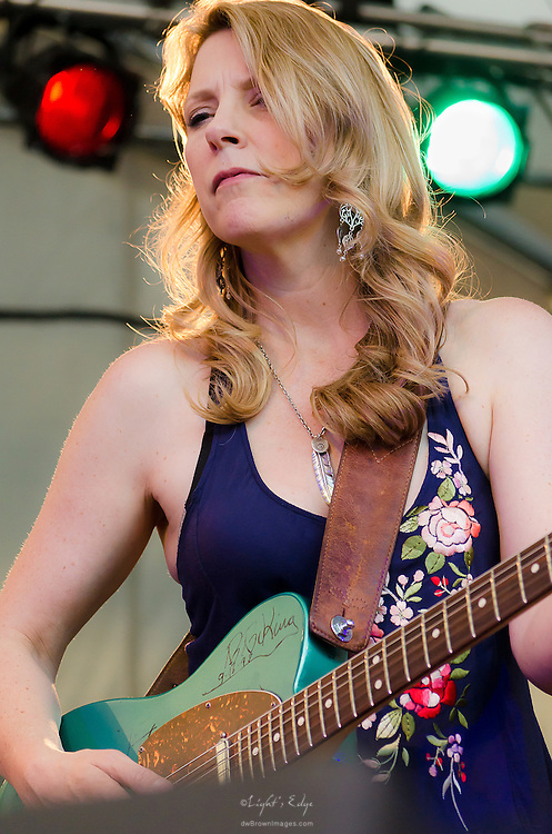 Susan Tedeschi using ther B.B. King autographed guitar while performing with Derek Trucks at the 2012 Appel Farm Arts & Music Festival.