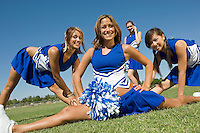 Cheerleaders Stretching During Practice