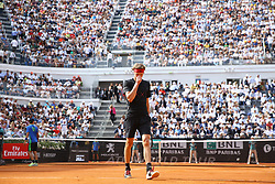 May 20, 2018 - Rome, Italy - Alexander Zverev of Germany reacts during the Mens Singles final match between Rafael Nadal and Alexander Zverev on Day Eight of the The Internazionali BNL d'Italia 2018 at Foro Italico on May 20, 2018 in Rome, Italy. (Credit Image: © Matteo Ciambelli/NurPhoto via ZUMA Press)