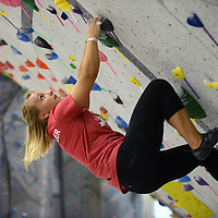 Natalie Skrobis, 20, of Naperville figures out a route to the top of the bouldering wall at Vertical Endeavors rock climbing facility in Glendale Heights. This wall does not require being harnessed and climbers can go over the top and come back down stairs or release their grip on the holds and jump below to a padded landing. Skrobis has been doing the sports for nine months.