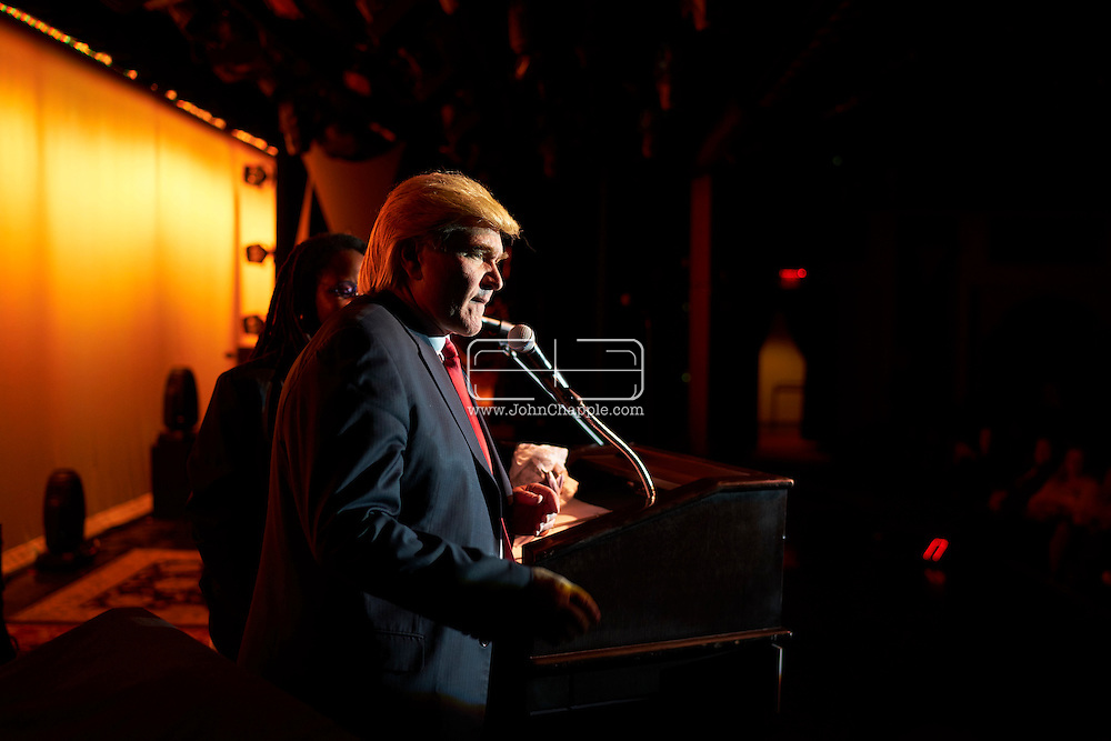 February 22, 2016. Las Vegas, Nevada.  The 22nd Reel Awards and Tribute Artist Convention in Las Vegas. Celebrity lookalikes from all over the world gathered at the Golden Nugget Hotel for the annual event. Pictured is Donald Trump Lookalike, Marcel Forestieri.<br /> Copyright John Chapple / www.JohnChapple.com /