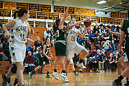 Essex's Lizzie Goodrich (20) leaps past St. Johnsbury's Neva Bostic (23) to take a shot during the girls basketball game between the St. Johnsbury Hilltoppers and the Essex Hornets at Essex high school on Tuesday night January 5, 2016 in Essex. (BRIAN JENKINS/for the FREE PRESS)