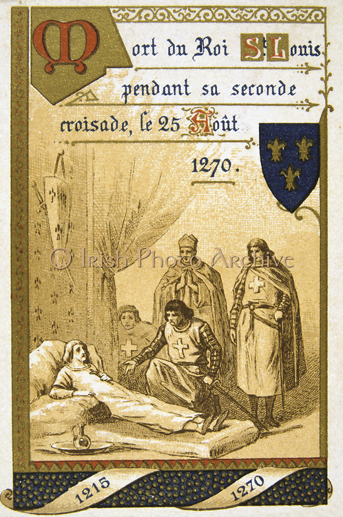 Louis IX of France (Saint Louis 1214-1270). Louis  dying of plague or dysentry at Tunis on his second  Crusade. Nineteenth Century Trade Card  Lithograph