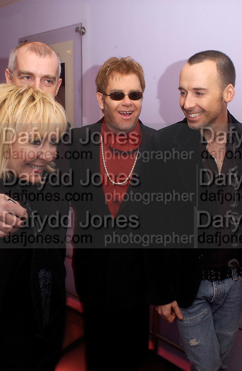 Lulu, Neil Tennant,  Sir elton John and David Furnish, Theo Fennell party to celebrate their 21st Anniversary. The Collection. 28 October 2003. © Copyright Photograph by Dafydd Jones 66 Stockwell Park Rd. London SW9 0DA Tel 020 7733 0108 www.dafjones.com