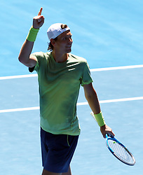 MELBOURNE, Jan. 22, 2018  Tomas Berdych of the Czech Republic celebrates after winning the men's singles fourth round match against Fabio Fognini of Italy at Australian Open 2018 in Melbourne, Australia, Jan. 22, 2018. Tomas Berdych won 3-0. (Credit Image: © Li Peng/Xinhua via ZUMA Wire)