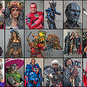 Horizontal 18 Cosplay attendees in their hero and villains costumes.<br />