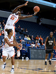 Virginia Cavaliers C Aisha Mohammed (33) grabs a rebound.  The Virginia Cavaliers women's basketball team faced Team Concept in an exhibition basketball game at the John Paul Jones Arena in Charlottesville, VA on November 5, 2007.