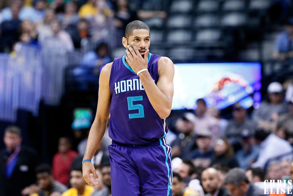 04 March 2017: Charlotte Hornets guard Nicolas Batum (5) is seen on defense during the Charlotte Hornets 112-102 victory over the Denver Nuggets, at the Pepsi Center, Denver, Colorado, USA.