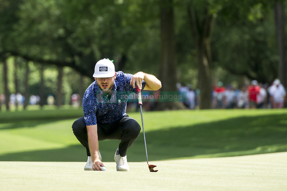 May 5, 2019 - Charlotte, North Carolina, United States of America - Doc Redman lines up a putt on the ninth green during the final round of the 2019 Wells Fargo Championship at Quail Hollow Club on May 05, 2019 in Charlotte, North Carolina. (Credit Image: © Spencer Lee/ZUMA Wire)