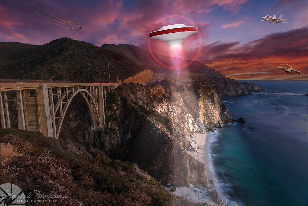 Humorous composite image of a UFO, jet, C-17, at Bixby Bridge along the Big Sur, Coast, Califonia