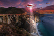 Humorous composite image of a UFO, jet, C-17, at Bixby Bridge along the Big Sur, Coast, Califonia
