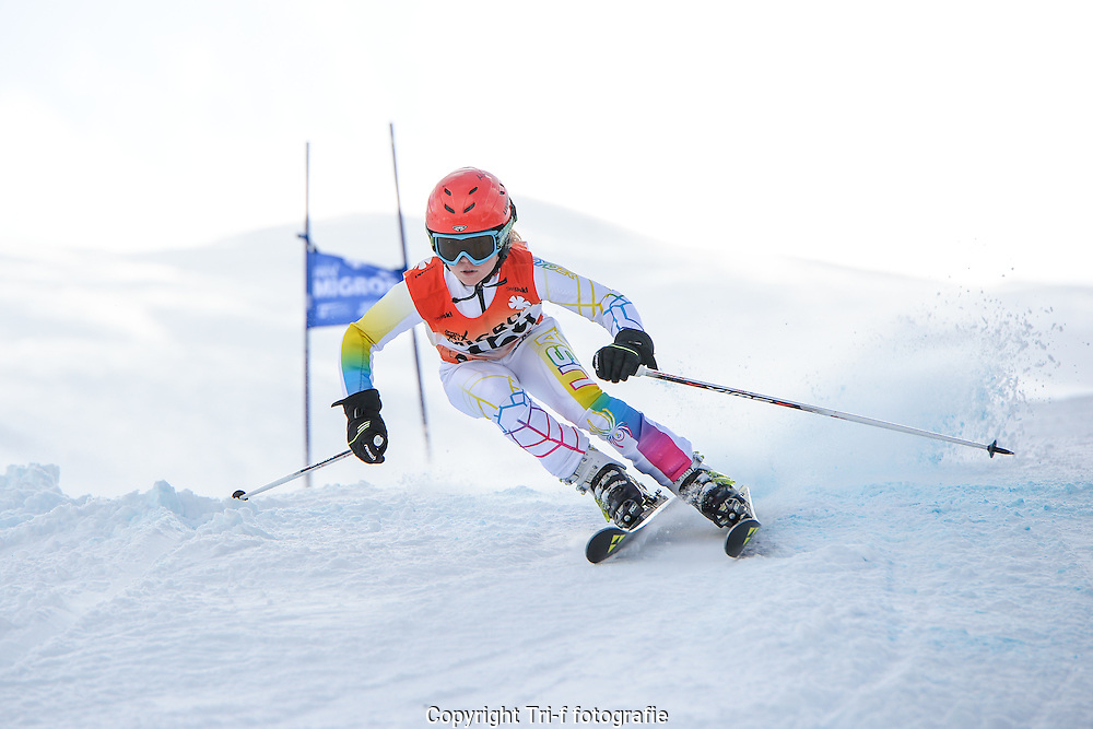 Skier goes downhill during the GP Migros