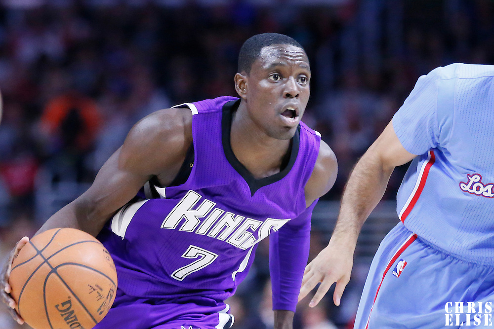 02 November 2014: Sacramento Kings guard Darren Collison (7) drives past Los Angeles Clippers guard Jordan Farmar (1) during the Sacramento Kings 98-92 victory over the Los Angeles Clippers, at the Staples Center, Los Angeles, California, USA.