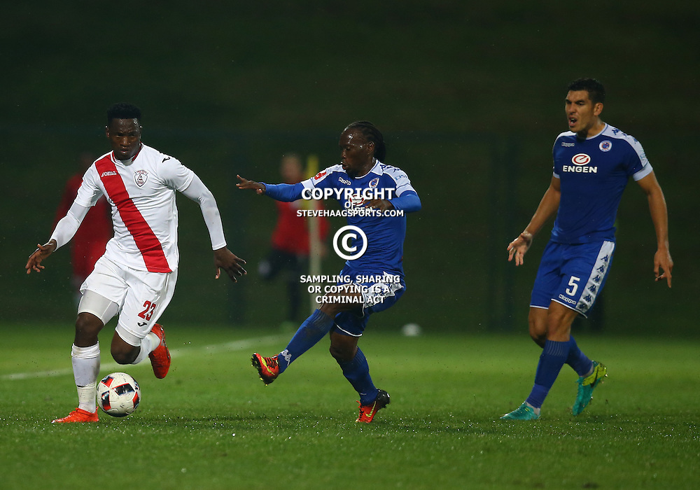 Reneilwe Letsholonyane of SuperSport United looks to tackle Moeketsi Sekola of Free State Stars during the 2016 Premier Soccer League match between Supersport United and The Free Stat Stars held at the King Zwelithini Stadium in Durban, South Africa on the 24th September 2016<br /> <br /> Photo by:   Steve Haag / Real Time Images