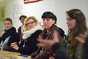 """Artists, including several from the Neighbour Spaces program, participate in the """"Artists and Workers: Commnuity Discussion event that is part of Mayworks Windsor 2014."""