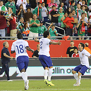 Bruno Alves, (centre), Portugal, celebrates after heading the winning goal, is congratulated by team mate Joao Moutinho, (right) during the Portugal V Mexico International Friendly match in preparation for the 2014 FIFA World Cup in Brazil. Gillette Stadium, Boston (Foxborough), Massachusetts, USA. 6th June 2014. Photo Tim Clayton
