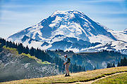 Skyline Divide trail, Mount Baker (elevation 10,781 feet) in Mount Baker Wilderness, in Mount Baker-Snoqualmie National Forest, near Bellingham, Washington, USA.