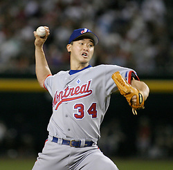 Phoenix, AZ 05-14-04 Montreal Expos pitcher Tomo Ohka throws against the Arizona Diamondbacks. Ohka pitched 7 innings with 6 hits and 3 runs. The Expos won 4-3 in the 9th inning. Ross Mason photo