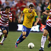 Oscar, Brazil, in action during the USA V Brazil International friendly soccer match at FedEx Field, Washington DC, USA. 30th May 2012. Photo Tim Clayton