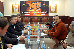 NEW DELHI, INDIA - NOV-04-2006 - Karel De Gucht, Belgian Minister of Foreign Affairs meets with Ashok Marg , Leader of the BJP opposition party in New Delhi.