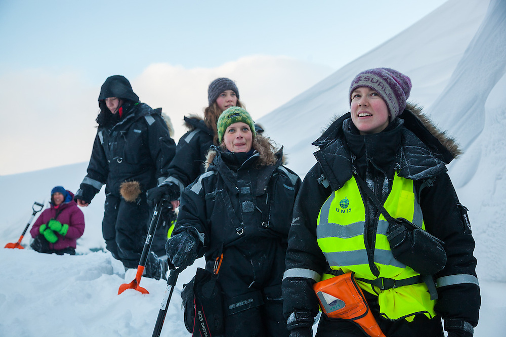 UNIS students – Heïdi Sevestre, Solveig Winsvold, Sofie Vej Ugelvig, Emilia Piasecka, and Alia Khan – explore the surface of Rabotbreen, Svalbard on a class field trip.