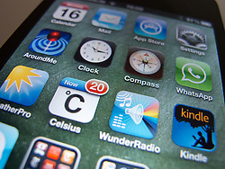 close-up of apps on an Apple iPhone 4G smart phone