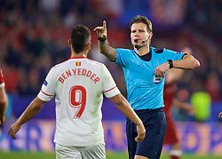 SEVILLE, SPAIN - Tuesday, November 21, 2017: Referee Felix Byrch during the UEFA Champions League Group E match between Sevilla FC and Liverpool FC at the Estadio Ramón Sánchez Pizjuán. (Pic by David Rawcliffe/Propaganda)