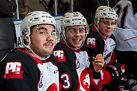 KELOWNA, CANADA - NOVEMBER 29: Max Kryski #13 of the Prince George Cougars laughs on the bench against the Kelowna Rockets on November 29, 2017 at Prospera Place in Kelowna, British Columbia, Canada.  (Photo by Marissa Baecker/Shoot the Breeze)  *** Local Caption ***