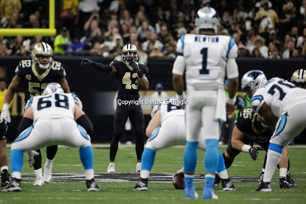 Jan 7, 2018; New Orleans, LA, USA; New Orleans Saints free safety Marcus Williams (43) signals as Carolina Panthers quarterback Cam Newton (1) waits for the snap during the first quarter in the NFC Wild Card playoff football game at Mercedes-Benz Superdome. Mandatory Credit: Derick E. Hingle-USA TODAY Sports