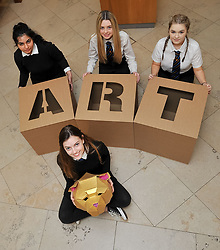 Pictured: Charly Miller, holding a golden bear head design and fellow an S5 pupils Momina Younis, Sophia Somerville and Neva Houston all from Drummond Community High School holding giant ART letters which forms part of the exhibition<br /> <br /> 'The Art of the Future' was an ambitious project that asked young people across Scotland what they thought the art of the future was. The results are in a display opening at the Scottish National Gallery in Edinburgh this week.<br /> <br /> &copy; Dave Johnston / EEm
