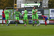 \Players celebrate Forest Green Rovers Christian Doidge(9) goal, 1-0 during the Vanarama National League match between Forest Green Rovers and Aldershot Town at the New Lawn, Forest Green, United Kingdom on 5 November 2016. Photo by Shane Healey.
