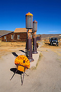 The Boone Store gas pumps and Dodge truck on Main Street, Bodie State Historic Park (National Historic Landmark), California USA