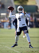 Dallas Cowboys rookie quarterback Dak Prescott (4) throws a pass during the second day of the Dallas Cowboys 2016 NFL training camp football practice held on Sunday, July 31, 2016 in Oxnard, Calif. (©Paul Anthony Spinelli)