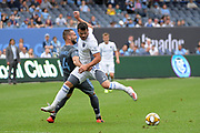 Maxime Chanot of NYCFC stops Vako Qazaishvilli of San Jose Earthquakes during a MLS soccer game, Saturday, Sept. 14, 2019, in New York.NYCFC defeated San Jose Earthquakes 2-1.(Errol Anderson/Image of Sport)