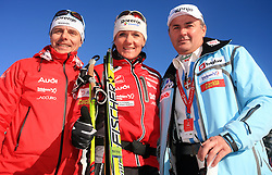 Coach, Ivan Hudac, Slovenian cross-country skier Petra Majdic and Primoz Ulaga at 10th OPA - Continental Cup 2008-2009, on January 17, 2009, in Rogla, Slovenia.  (Photo by Vid Ponikvar / Sportida)