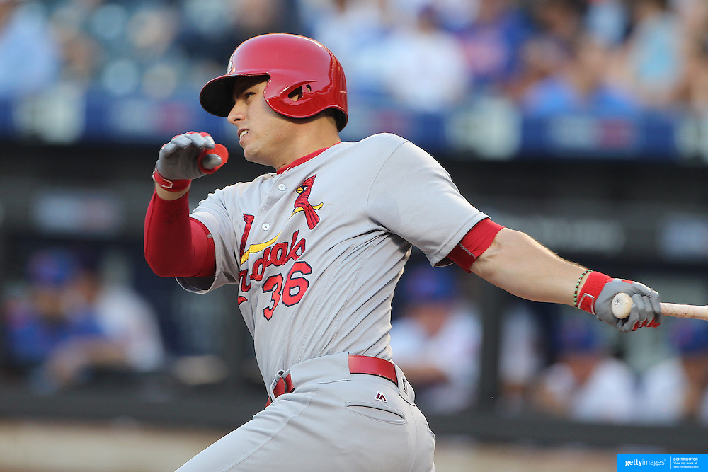 NEW YORK, NEW YORK - July 27: Aledmys Diaz #36 of the St. Louis Cardinals batting during the St. Louis Cardinals Vs New York Mets regular season MLB game at Citi Field on July 27, 2016 in New York City. (Photo by Tim Clayton/Corbis via Getty Images)