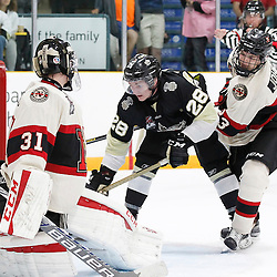 TRENTON, ON - SEP 8:  Lucas Brown #28 of the Trenton Golden Hawks scores his 4th goal in the third period during the OJHL regular season game between the Newmarket Hurricanes and Trenton Golden Hawks on September 8, 2016 in Trenton, Ontario. (Photo by Amy Deroche/OJHL Images)