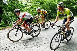 Jan Polanc (SLO) of UAE Team Emirates, Ziga Rucigaj (SLO) of Ljubljana Gusto Santic and Luka Mezgec (SLO) of Mitchelton - Scott during 3rd Stage of 26th Tour of Slovenia 2019 cycling race between Zalec and Idrija (169,8 km), on June 21, 2019 in Slovenia. Photo by Vid Ponikvar / Sportida