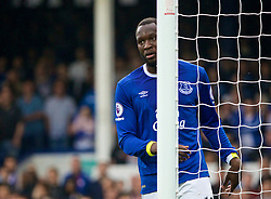 LIVERPOOL, ENGLAND - Sunday, April 9, 2017: Everton's Romelu Lukaku shows no emotion after scoring the section goal against Leicester City to equalise the score at 2-2 in action against Leicester City during the FA Premier League match at Goodison Park. (Pic by David Rawcliffe/Propaganda)