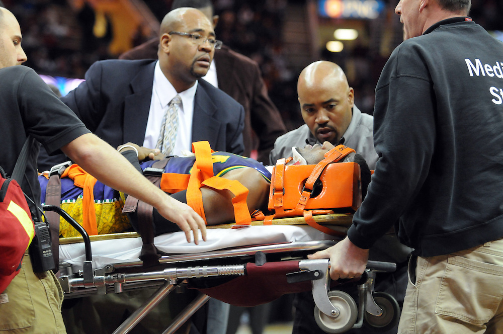March 6, 2011; Cleveland, OH, USA; New Orleans Hornets point guard Chris Paul (3) is taken off the court on a stretcher after taking a hard fall during the third quarter against the Cleveland Cavaliers at Quicken Loans Arena. Mandatory Credit: Jason Miller-US PRESSWIRE