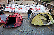 Roma, 26 Novembre 2012.Manifestazione del Movimento Sociale Europeo in Campidoglio per il diritto alla casa contro gli sfratti e per il mutuo sociale. I manifestanti  montano una tendopoli.