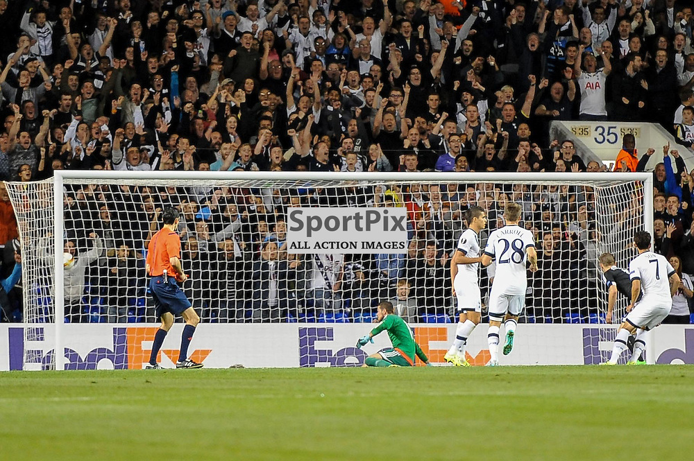 Tottenhams Son Heung-Min scores his second goal to put his side the lead  during the Tottenham v Qarabag match in the Europa League group stage