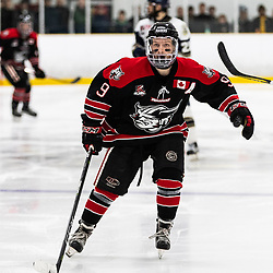 TORONTO, ON - APR 10, 2018: Ontario Junior Hockey League, South West Conference Championship Series. Game seven of the best of seven series between the Georgetown Raiders and the Toronto Patriots, Jordan Crocker #9 of the Georgetown Raiders chases down the play during the third period.<br /> (Photo by Kevin Raposo / OJHL Images)