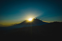 Aerial view of sunset over Guatemala's Fuego and Acatenango volcanoes on Dec. 31, 2018.